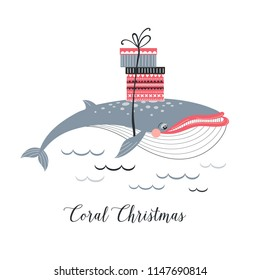 Christmas Whale caring presents boxes on his back, underwater Xmas concept card