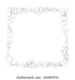 Christmas white frame of snowflakes