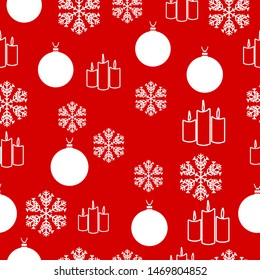 Christmas white snowflake on abstract red bakcground vector illustration eps10. Wrapping paper.