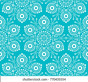 Christmas white snowflake seamless pattern, dot art vector design, Australian folk art, Aboriginal style. 	 Xmas white snowflakes wallpaper on turquoise background
