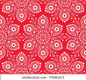 Christmas white snowflake seamless pattern, dot art vector design, Australian folk art, Aboriginal style.