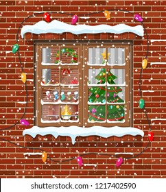 Christmas window in brick wall. Living room with christmas tree and fireplace. Happy new year decoration. Merry christmas holiday. New year and xmas celebration. Vector illustration flat style