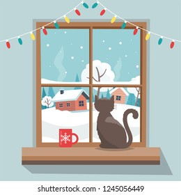 Christmas window with winter landscape, cat sitting on the window sill.  Merry christmas greeting card template. Vector illustration in flat style