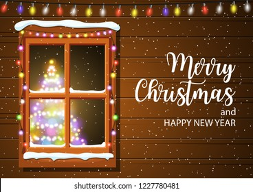 Christmas window in wooden wall. lighted christmas tree Happy new year decoration. Merry christmas holiday. New year and xmas celebration. Vector illustration flat style