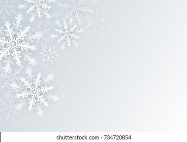 Christmas and winter background design of white snowflake with copy space
