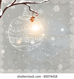 Christmas winter background with hand drawn ball and holly berries