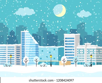 Christmas winter city landscape with big building. Snowy evening view with buildings and skyscrapers. Vector illustration