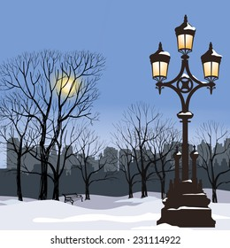 Christmas Winter Cityscape with luminous street lamp, snow flakes and trees. Old street light in city park snow alley.