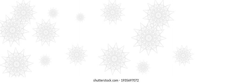 Christmas Winter Grey Silver Snow Ornament. Snowflakes White Horizontal Ornamental Wallpaper. Stars Santa Ice Monochrome Holiday Sky Wallpaper. Frost Chaotic Print New Year Mandala Illustration.