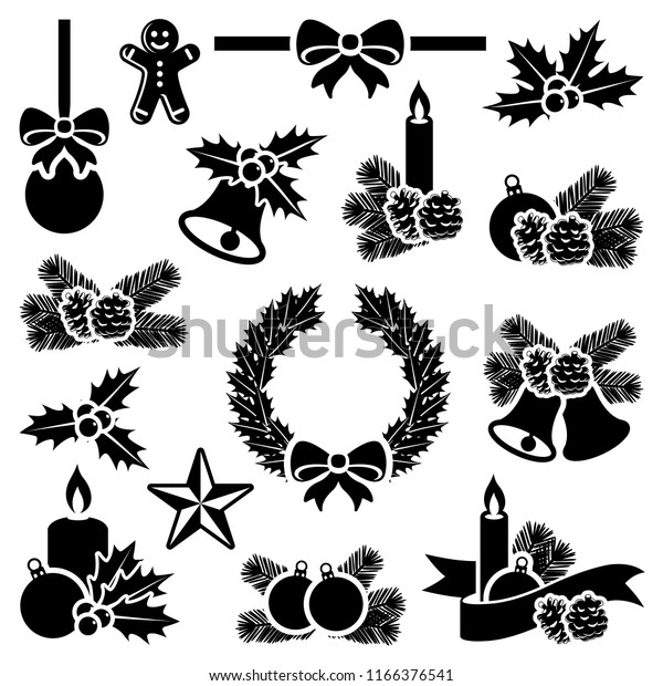 Christmas winter holiday decoration collection - vector silhouette illustration