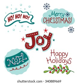 Christmas and winter holiday greetings, fun text, words