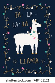 Christmas or Winter Holidays Card with llama and Festive Lights Garland.