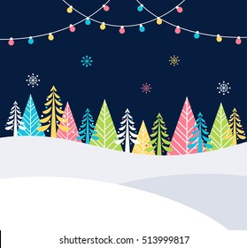 Christmas and Winter Holidays Events Festive Background with Snow, Trees and Christmas Lights. Vector Poster Template