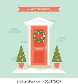 Christmas and winter holidays front door decorations flat vector illustration