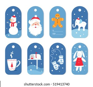 Christmas and Winter Holidays Gift Labels or Tags with Mittens, Santa and White Elephant