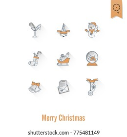 Christmas and Winter Icons Collection. Retro Color. Long Shadow. Simple and Minimalistic Style. Vector