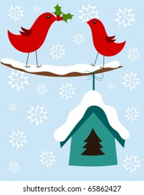 Christmas winter illustration with two cute birds