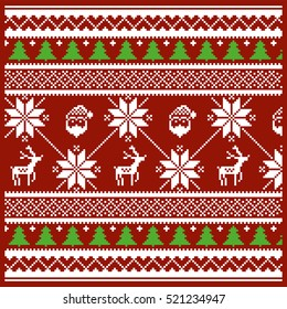 Christmas and Winter knitted pattern / vector illustration
