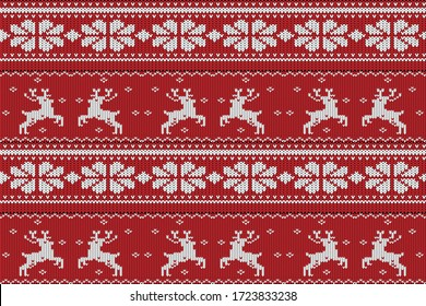 Christmas and Winter knitted seamless pattern, scandynavian style
