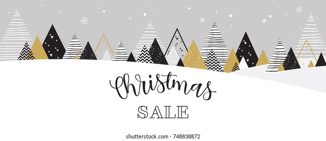 Christmas winter landscape background. christmas sale. christmas sale banner