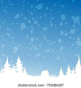 Christmas winter landscape background. Vector background illustration