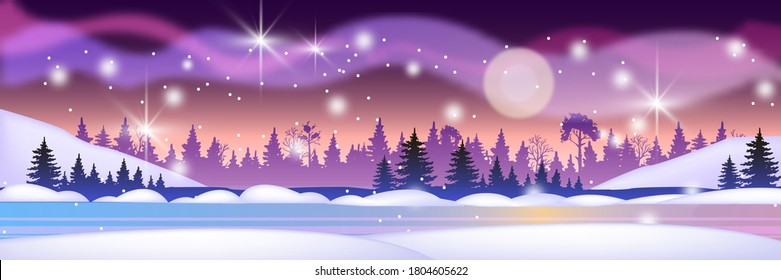 Christmas winter landscape with forest silhouette, frozen river, night sky, stars. Horizontal northern background with snow, aurora borealis, moon, pine trees. Winter vector landscape in blue, violet