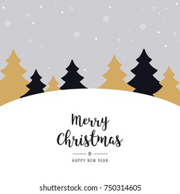 christmas winter landscape golden black trees greeting text snowy background