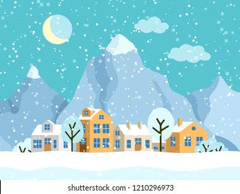Christmas winter landscape with small houses. Snowy evening village with mountains. Vector illustration
