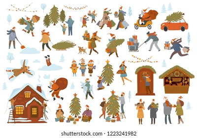 Christmas winter people scenes set, men women children family couple prepare for Xmas celebration, choose buy decorate tree house with lights, shopping walk pack presents, drink mulled wine at market