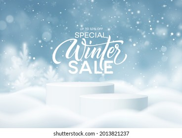 Christmas Winter Product podium on the background of drifts, snowflakes and snow. Realistic product podium for winter and christmas discount design, sale. Vector illustration EPS10