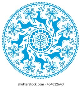 Christmas, winter round blue pattern with reindeer - folk art style