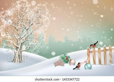 Christmas winter scene. Vector snowy landscape. Frosty tree, snow-covered hills, fence, gifts and birds bullfinches