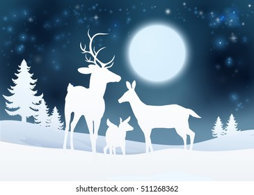 Christmas winter snow scene background with a family of deer in silhouette