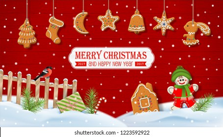 Christmas winter snow-covered scenery. Rural vector landscape with fence, bird, gingerbread and decorations on a red wooden background