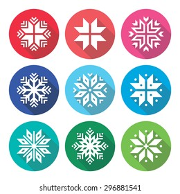 Christmas, winter snowflakes flat design icons set