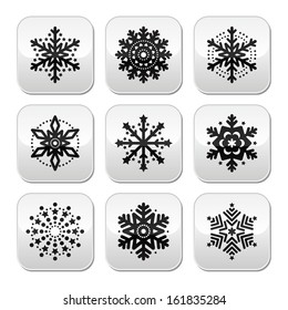 Christmas or winter Snowflakes vector buttons set