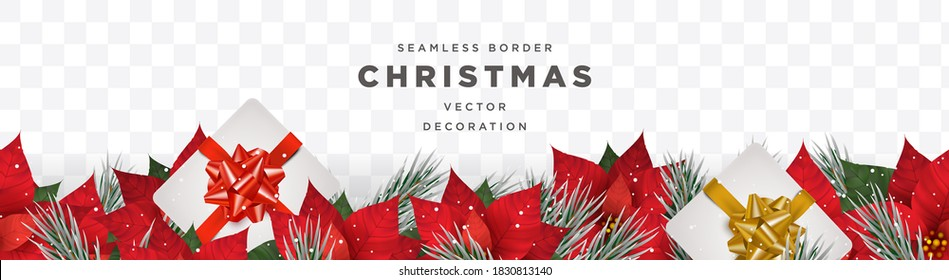 Christmas winter theme border template vector with realistic poinsettia flower