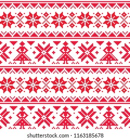 Christmas or winter vector seamless pattern, inspired Lapland folk art, traditional needlework and embroidery design    Traditional cross stitch patterns from Norway, Sweden, Finland, and the