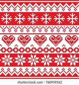 Christmas, winter vector seamless pattern, cross-stitch repetitive design, Scandinavian greeting card   Xmas red wallpaper, festive background with hearts and snowflakes, Nordic decoration