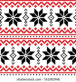Christmas, winter vector seamless pattern with snowflakes, cross-stitch repetitive design, Scandinavian greeting card