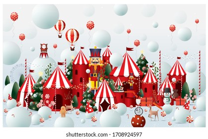 christmas winter wonderland greetings design template vector/illustration