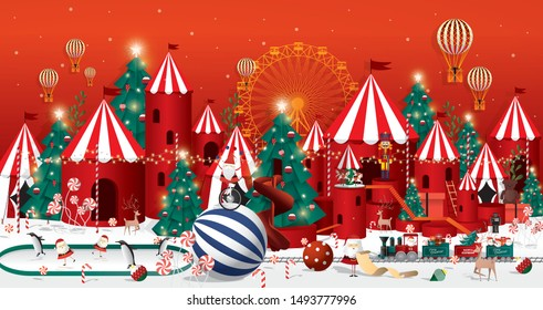 christmas winter wonderland greetings template vector/illustration