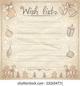 Christmas wish list illustration with empty place for text