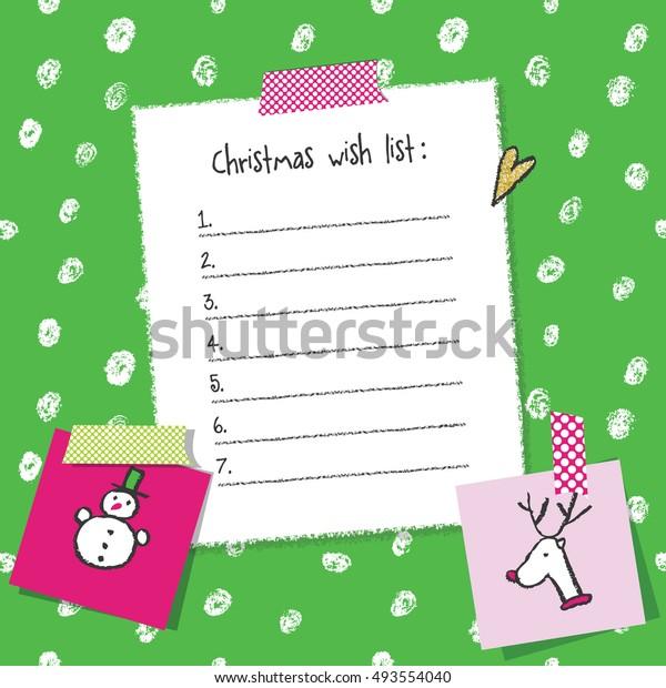 Christmas Wish List Template Hand Drawn Stock Vector