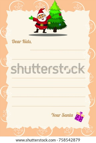 christmas wishlist letter santa template happy stock vector royalty