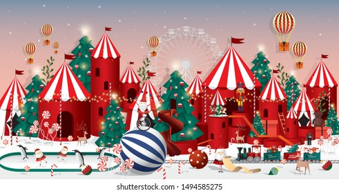 christmas wonderland greetings template vector/illustration