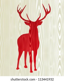 Christmas wood reindeer silhouette postcard background. Vector file layered for easy manipulation and custom coloring.