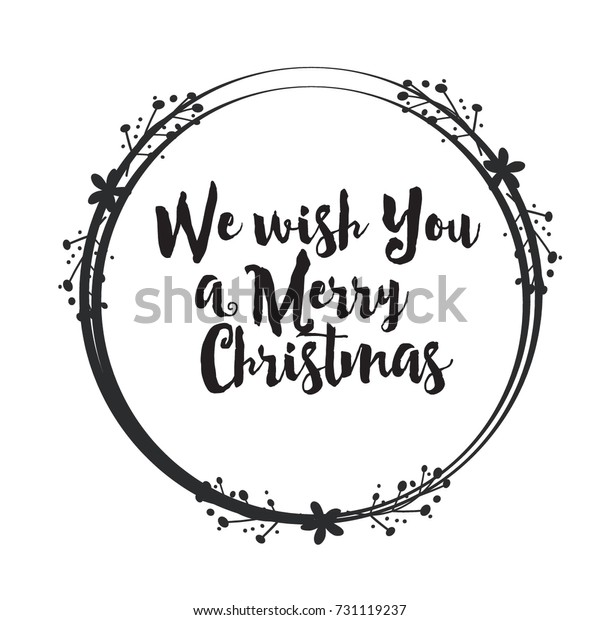 Christmas Word Art Design Floral Circle Stock Vector
