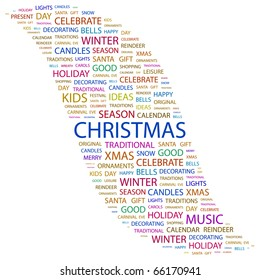 CHRISTMAS. Word collage on white background. Vector illustration.