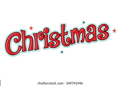 Christmas word headline, fun, red with stars